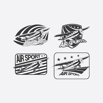 Воздушный спорт черный белый логотип
