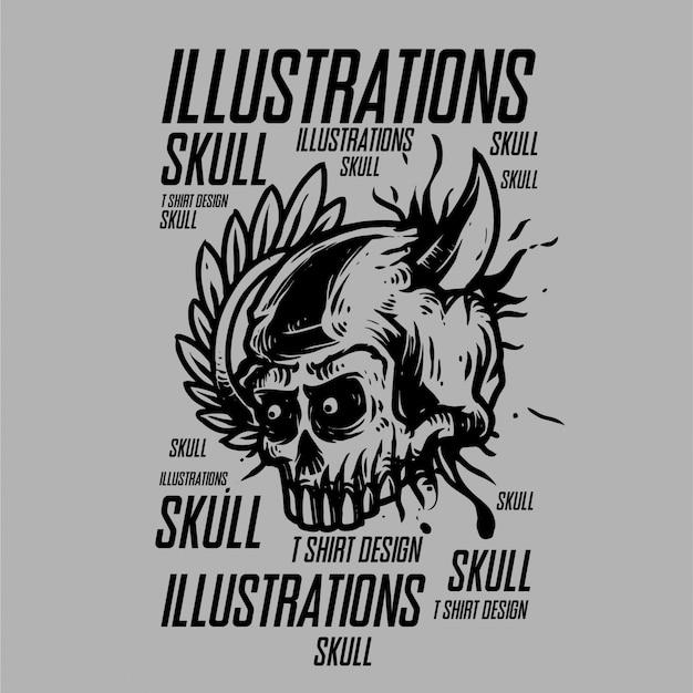 Иллюстрации черепа для дизайна футболки