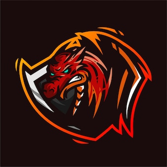 Шаблон игрового логотипа талисман дракона