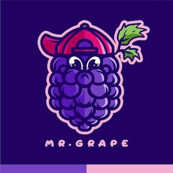 Мистер виноградный талисман логотип
