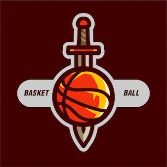 スポーツのロゴのための剣とバスケットボール