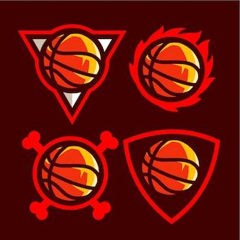 アメリカンスポーツチームのバスケットボールのロゴを設定します。