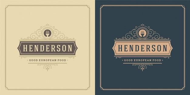 レストランのロゴのテンプレートイラストフォークシンボルと飾りまんじメニューとカフェのサインに適しています。