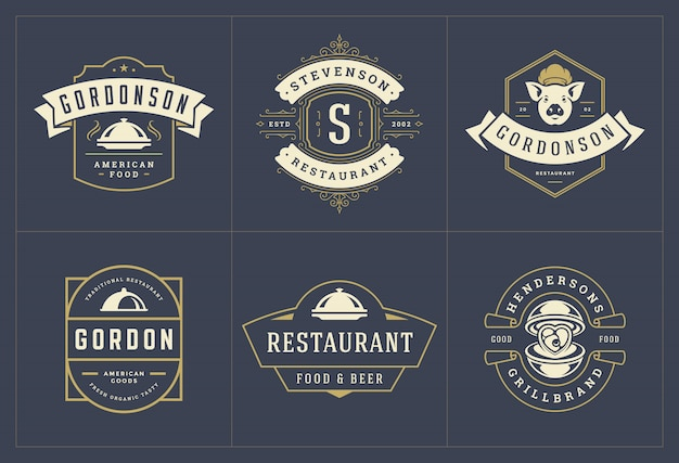Шаблоны логотипов ресторана установили иллюстрацию хорошую для ярлыков меню и значков кафа.