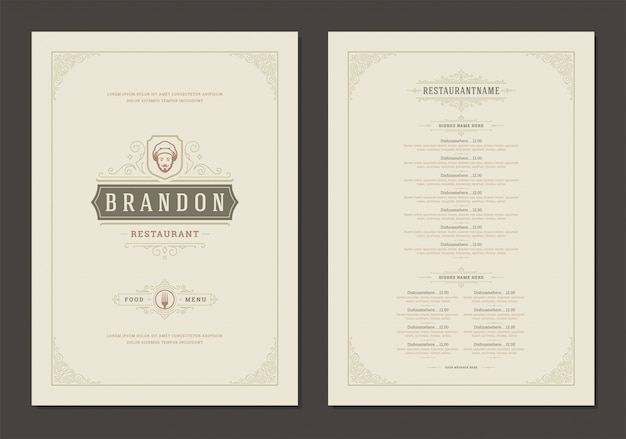 Шаблон дизайна меню с крышкой и ресторан старинный логотип брошюры.