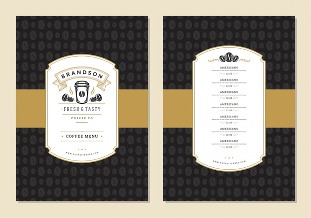 Флаер шаблон дизайна меню кофе для бара или кафе с символом кубка логотип оффи магазин.