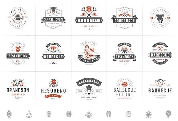 Логотипы гриль и барбекю набор векторные иллюстрации стейк-хаус или ресторан меню значки с едой барбекю