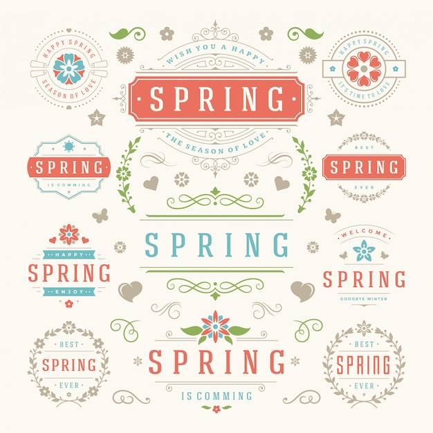 春のタイポグラフィラベルとバッジスタイルのテンプレート。