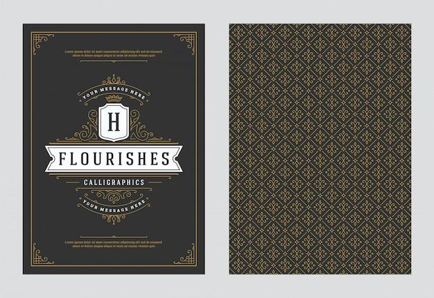 Старинные украшения открытки каллиграфические витиеватые орнаменты и виньетки кадр вектор дизайн