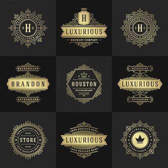 ヴィンテージのロゴとモノグラムセットエレガントな活気づくラインアート優雅な装飾ビクトリア朝様式のベクトルテンプレート