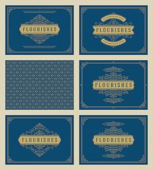 Старинные украшения поздравительные открытки набор векторных шаблонов