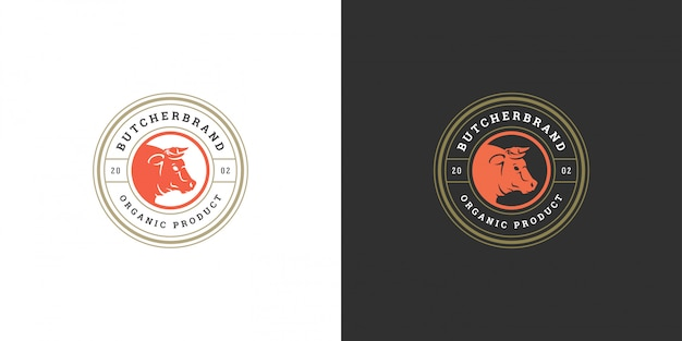 Мясная лавка логотип векторная иллюстрация голова быка силуэт хорошо для фермы или ресторана значок