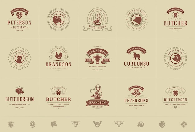 Логотипы мясного магазина установили иллюстрацию вектора хорошую для значков фермы или ресторана с животными и силуэтами мяса