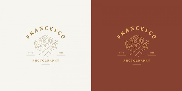 女性の手ジェスチャーラインとバラの花のベクトルのロゴエンブレムデザインテンプレートイラストシンプルな最小限の線形スタイル