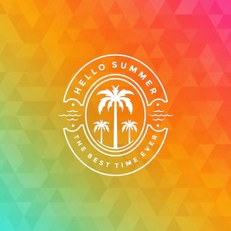 タイポグラフィのスローガンデザインの夏休みロゴ