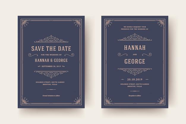 Приглашение на свадьбу и сохранение даты расцветает украшениями. старинные викторианские рамки и украшения.