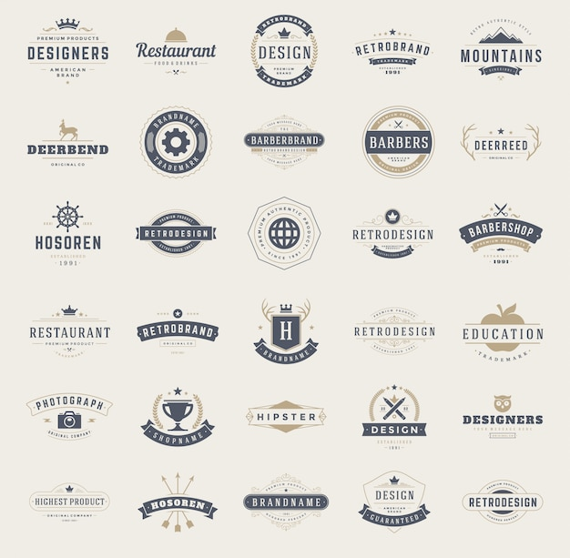 Набор шаблонов дизайна старинных логотипов.