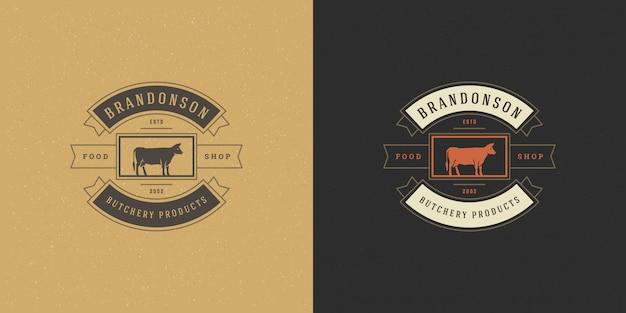 農場やレストランのバッジの肉屋店ロゴベクトルイラストヘッドシルエット