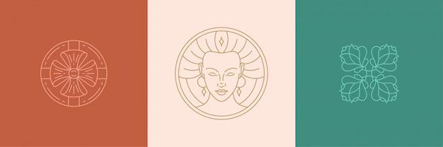 Векторные элементы дизайна украшения линии набор - женское лицо и розы иллюстрации линейный стиль