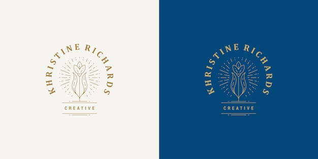 Цветочная линия и ветка с листьями векторный логотип эмблема дизайн шаблона иллюстрация простой линейный стиль