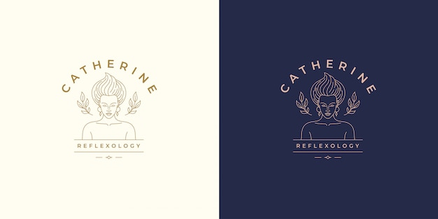 Красивая женская линия лицо с листьями векторный логотип дизайн шаблона иллюстрация простой линейный стиль