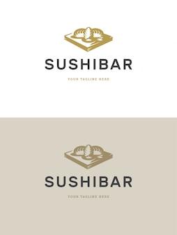 Суши-ресторан эмблема логотип шаблон векторные иллюстрации.