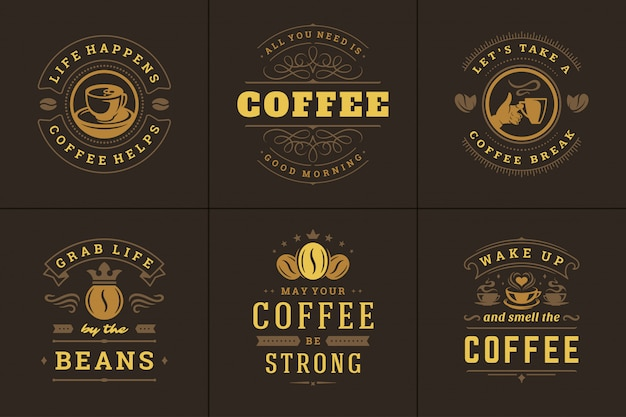 Кофе цитаты винтажный типографский стиль вдохновляющие фразы векторные иллюстрации
