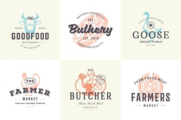 Вручите вычерченные животноводческие фермы логотипов и ярлыков с современной винтажной иллюстрацией вектора стиля оформления нарисованной рукой установленной.