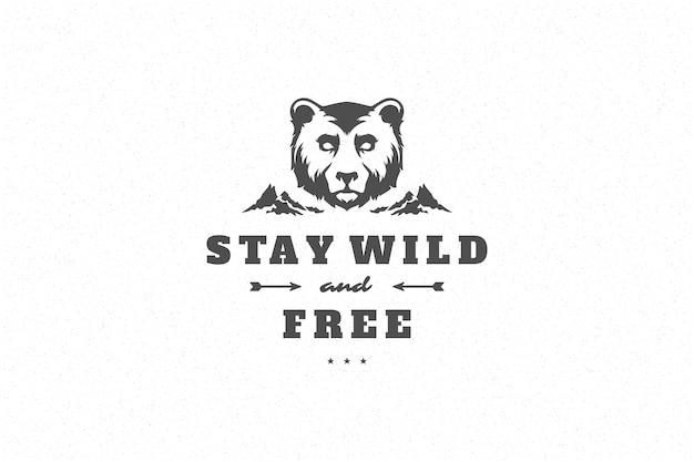 グリーティングカードやポスターなどの手描き怒っているクマの頭のシンボルとタイポグラフィを引用します。