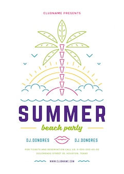 夏のビーチパーティーのチラシやポスターテンプレートのモダンなラインのタイポグラフィスタイルデザイン。