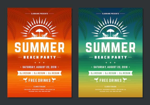 夏のパーティーデザインポスターやチラシの夜のクラブイベントモダンなタイポグラフィ