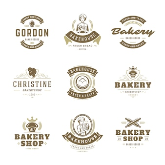パン屋さんのロゴとバッジのデザインテンプレートは、ベクターグラフィックを設定します。