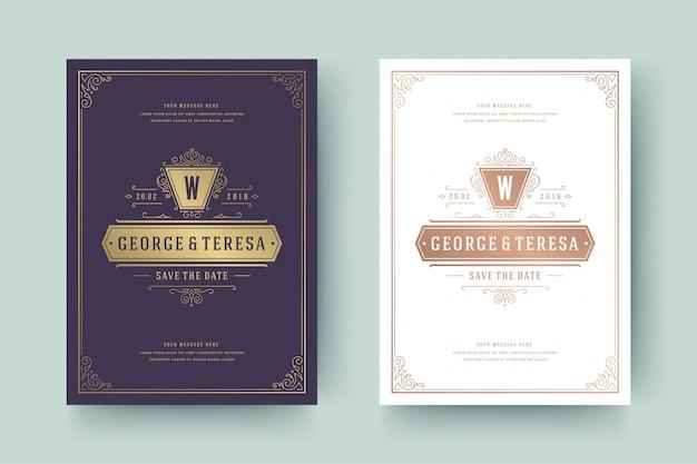 結婚式の招待状を保存する日付カードテンプレートゴールデン繁栄装飾ビネットまんじ。