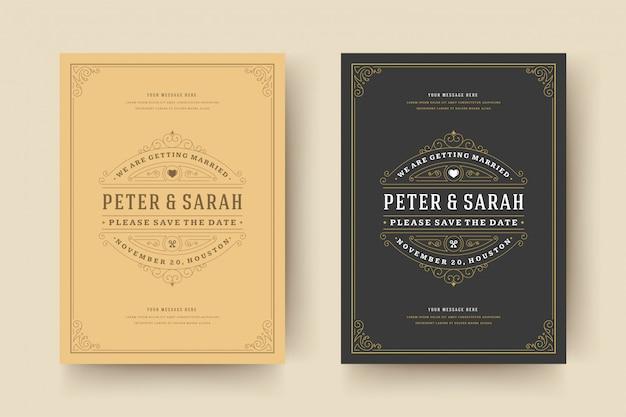 結婚式の招待状を保存する日付カードテンプレートは、装飾品ビネットまんじが繁栄します。