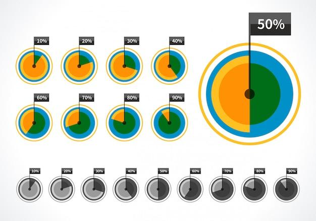 Круглые диаграммы и элементы дизайна вектор процентов для бизнес-презентации инфографики