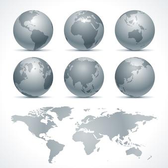 地球地球のアイコンは、インフォグラフィックデザインのデザイン要素を設定します。