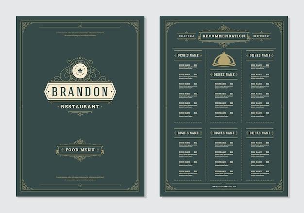 Дизайн меню ресторана и векторный шаблон брошюры этикетки.