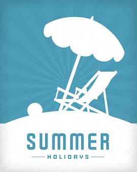 Пляж и шезлонг стул летом векторный фон.
