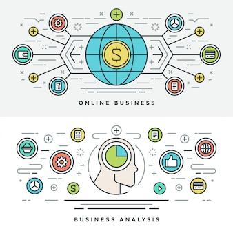 Плоская линия онлайн бизнес-анализ концепции иллюстрации