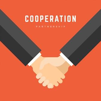 ビジネスマン握手、パートナーシップ協力事業フラット図