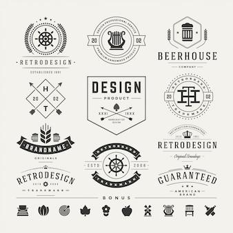 Ретро старинные логотипы набор векторных элементов дизайна