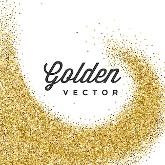 Золотой глиттер искрится ярким конфетти на белом фоне