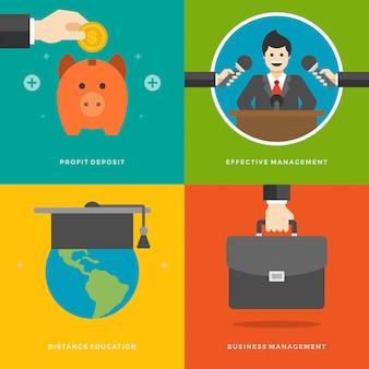 ウェブサイトプロモーションの要素利益金、効果的な管理、遠隔教育、ビジネススーツケース。ベクトルイラストセット。
