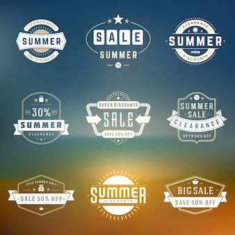 夏のシーズンセールバッジデザインベクトルレトロなセット
