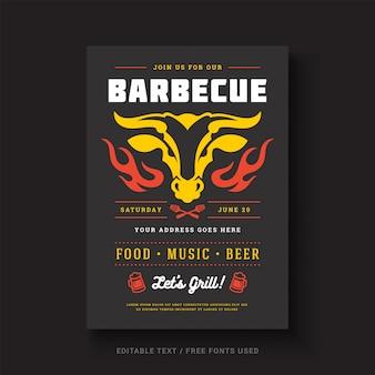 バーベキューパーティーベクトルチラシやポスターデザインテンプレートイベントレトロなタイポグラフィ。