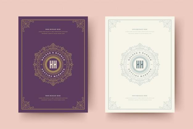 結婚式の招待状は、金色の飾り飾りビネット渦巻きカードを保存します。ヴィンテージのビクトリア朝のフレームと装飾。