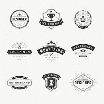 レトロなヴィンテージラベルやロゴ設定ベクターデザイン要素