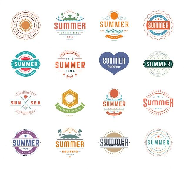 夏休みデザイン要素とタイポグラフィセットレトロビンテージテンプレート。