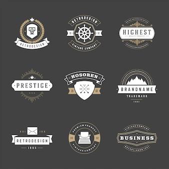 Ретро старинные значки и логотипы набор векторных элементов дизайна