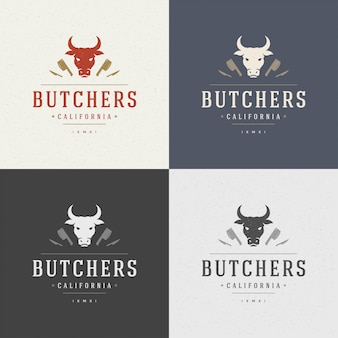 Элемент дизайна мясного магазина в винтажном стиле для логотипа